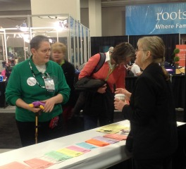 National Institute instructor Jean Wilcox Hibben and National Institute director Beverly Rice at RootsTech 2013.