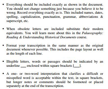 Transcription rules from Methodology, Part 1. (c) The National Institute for Genealogical Studies