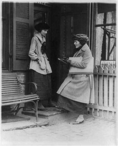 Woman taking census of another woman at door of house. Library of Congress. http://www.loc.gov/pictures/item/2002695609/resource/