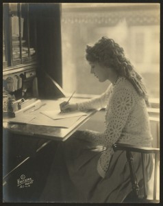 Mary Pickford at writing desk. Library of Congress. LC-DIG-ppmsca-18840