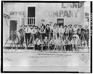 VIEW EAST SHOWING DETAIL OF WEST ELEVATION AND SURVEYORS IN FOREGROUND (enlargement of 4' x 5' negative) - Gary Land Company Building, Gateway Park, Fourth Avenue & Penn Street (moved from Broadway), Gary, Lake County, IN. Digital ID: (None) hhh in0285.photos.064906p http://hdl.loc.gov/loc.pnp/hhh.in0285/photos.064906p.Library of Congress Prints and Photographs Division Washington, D.C. 20540 USA http://hdl.loc.gov/loc.pnp/pp.print