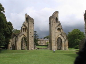 The ruins of Glastonbury Abbey photo by Shannon Combs-Bennett. Used with permission.