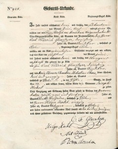 Glaentzer, Joseph Hubert birth certificate 1833. Photo by Michele Lewis. Used with permission