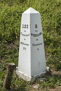 A historic mile marker on the National Road, the first federal highway (now U.S. 40) across the United States, in Triadelphia, West Virginia. Library of Congress