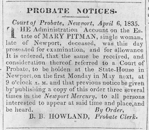 Probate notice for Mary Pitman, single woman. Library of Congress.  http://hdl.loc.gov/loc.pnp/ppmsca.02917