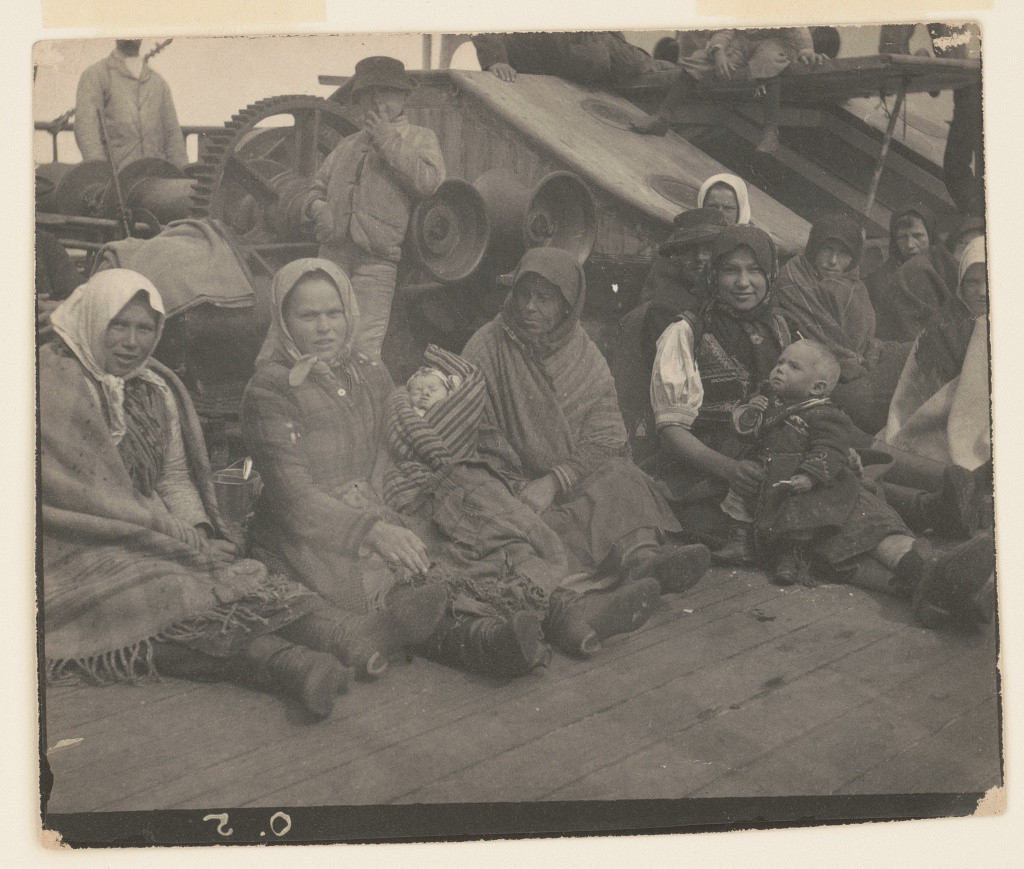 Group of emigrants (women and children) from eastern Europe on deck of the S.S. Amsterdam. Library of Congress Prints and Photographs Division. http://www.loc.gov/pictures/item/91482252/resource/