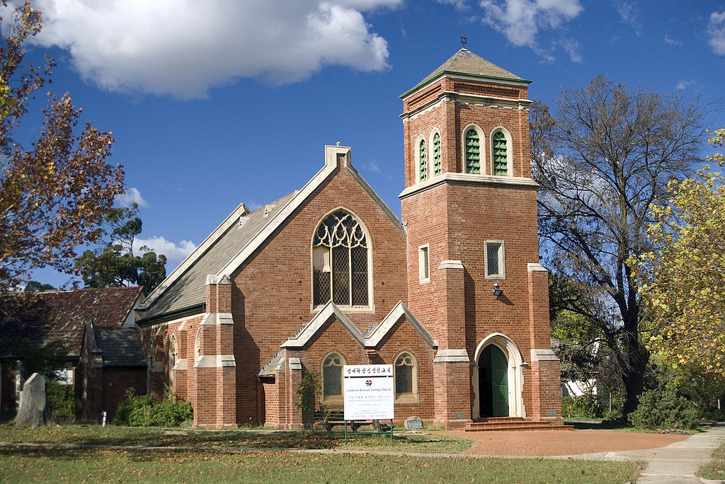 Canberra Korean Uniting Church in Reid, Australian Capital Territory by Bidgee. Wikimedia Commons. https://commons.wikimedia.org/wiki/File:Canberra_Korean_Uniting_Church_in_Reid,_ACT.jpg