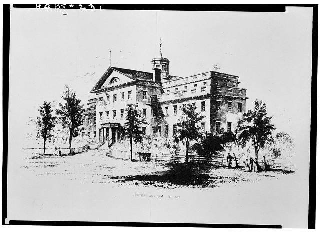 Historic American Buildings Survey, photo-copy of engraving by John Andrews, showing Dexter Asylum in 1869. - Dexter Asylum, Hope Street & Lloyd Avenue, Providence, Providence County, RI. Library of Congress. http://www.loc.gov/pictures/resource/hhh.ri0177.photos.145474p/