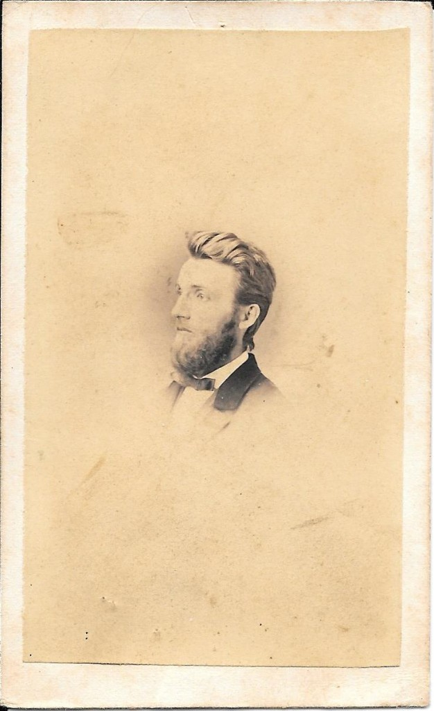 Carte de visite of George W. Fackler, 2nd great grandfather of Sandy Fackler. Probably taken between 25 September 1865 and 27 December 1868. Courtesy of Sandy Fackler.