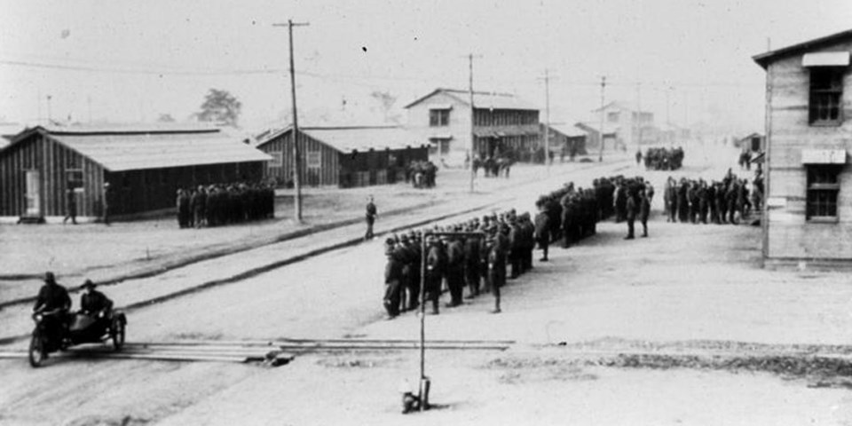 Soldiers in formation on the grounds of Camp Sherman. NPS Photo. https://www.nps.gov/articles/camp-sherman-ohio.htm